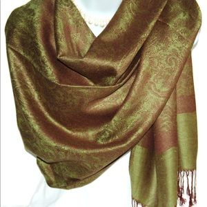 Accessories - Green and Brown Paisley Pashmina